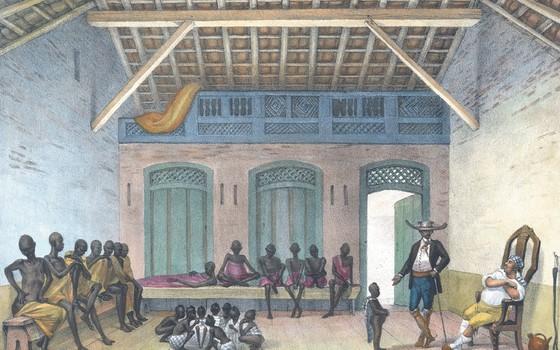 Na obra, Debret apresenta as condições nas quais escravos eram vendidos no mercado da Rua do Valongo, no Rio de Janeiro. A obra apresenta as contradições da alimentação dos escravos no Brasil com os documentos oficiais enviados à Coroa Portuguesa.